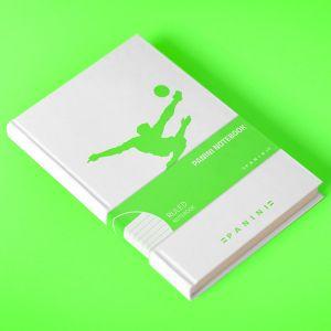 Panini notitieboek met in neongroen logo omhaal - gelinieerde pagina's